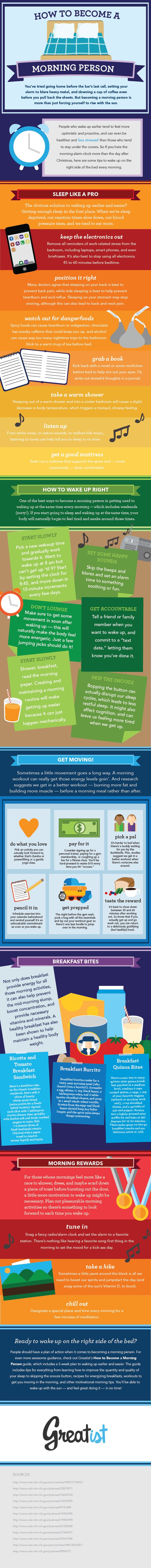 how to become a morning person (infographic)
