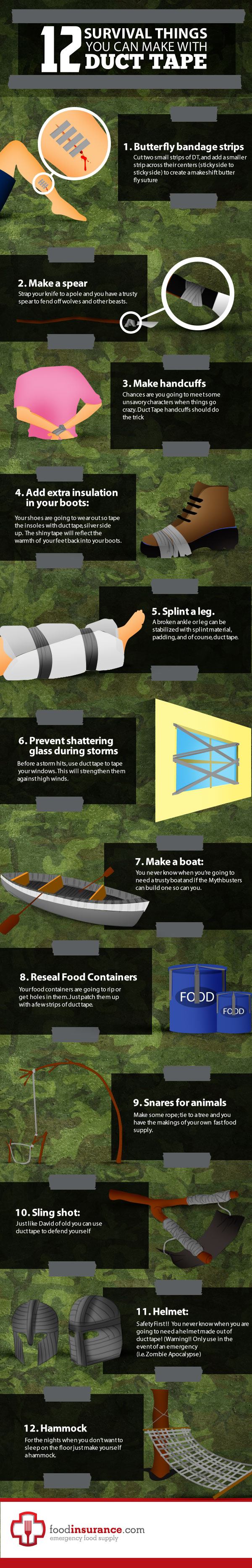 12 survival tips using duct tape infographic